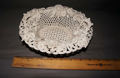 Antique Woven Reticulated Parian Ware Footed Center Bowl Applied Flowers