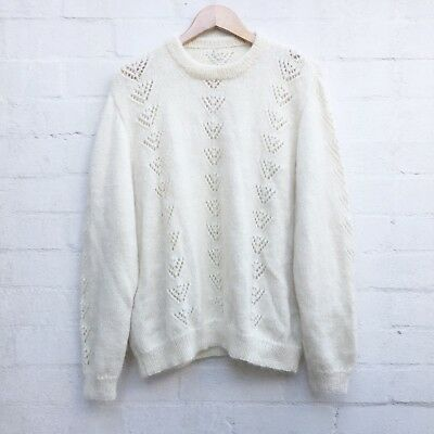 Vintage 80's Cream Chevron Knit Chunky Retro Oversize Pure Mohair Wool