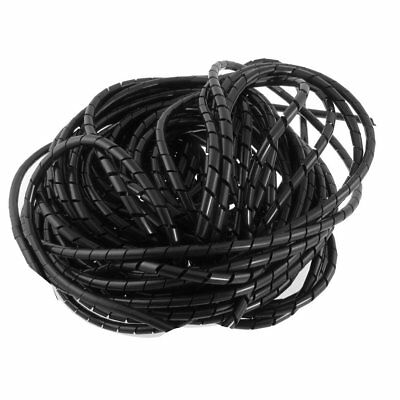 Copapa 21M 68 Ft PE Black Polyethylene Spiral Wire Wrap Tube PC Manage Cable 6mm