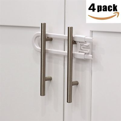 Child Safety Sliding Cabinet Locks (4 Pack) - Baby Proof Knobs, Handles,  Doors
