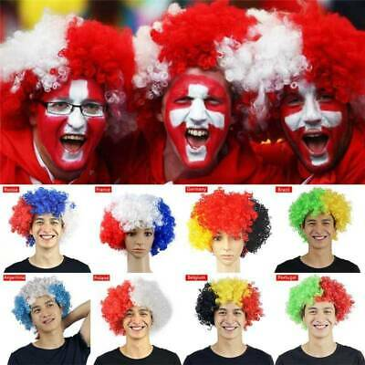 FIFA Football World Cup Short Curly Afro Hair Wig Fans Cheerleader Cosplay Props