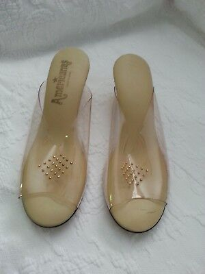 Vintage clear plastic and gold lame slippers heels, pumps or shoes ladies size 9