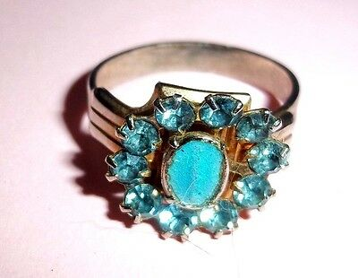 Antique Adjustable Gold Tone Ring & Blue Topaz Colored Stones Mixed Materials