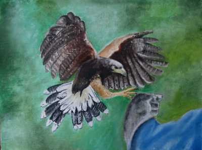 Original oil painting of Bird of Prey returning from the hunt.