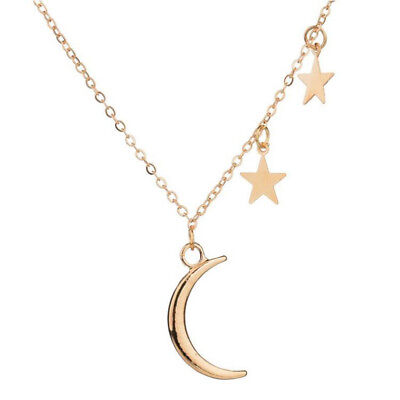 Fashion Women Metal Star Crystal Bib Gold Charm Moon Chain Pendant Necklace