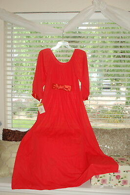 Ro Vel Collins & Aikman Vintage Nightgown Red Elegant Satin Bow Nwt! Size Small