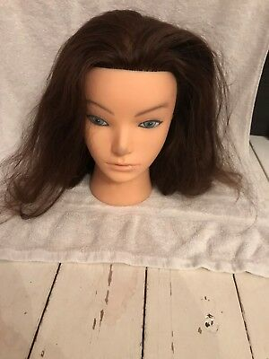 used. hairdressing, block head , real Asian chemically treated hair.