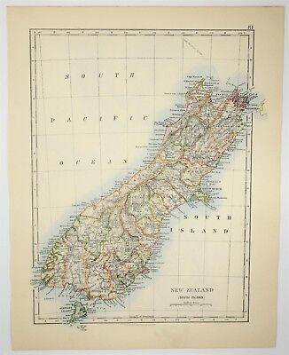 1895 Antique New Zealand Hand Colored Map - Oceania Old Print -Vintage Art