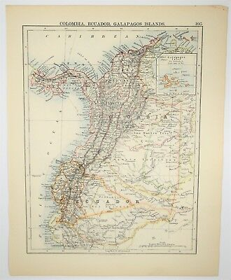 1895 Antique Colombia Ecuador Galapagos Hand Colored Map - Vintage Print Art