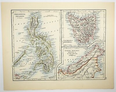 1895 Antique Philippine Map - Tasmania Borneo - Hand Colored - Vintage Print Art