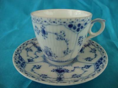 Good Royal Copenhagen Blue Fluted Lace Cup And Saucer.