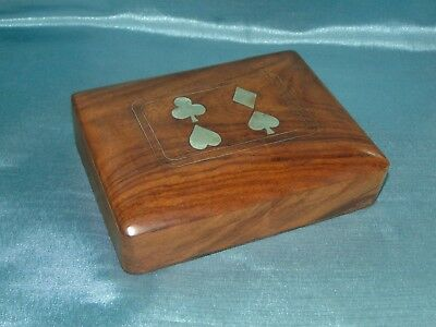 Lovely Vintage Teak / Exotic Hardwood and Brass Double Playing Card Box