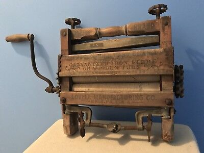 Antique Lovell LM Co Anchor Brand Pat 1899 Wood Clothes Washer Wringer WORKS
