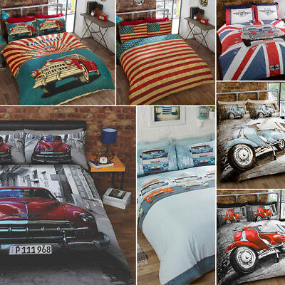 Route 66 Retro Garage / Vintage Car / Mini GT / Scooter Duvet Quilt Cover Set