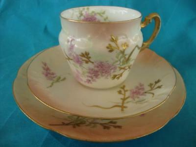 FINE ANTIQUE FRENCH LIMOGES ( D & Co. ) HAND PAINTED CUP, SAUCER & PLATE. #2.