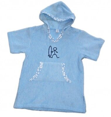 Kids Hooded Poncho Changing Towel Surf & Swim Beach Cover-Up Parka - Blue