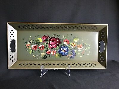 Vintage Nashco Metal Tole Hand Painted Tray Flowers On Green Wall Hanging 22X10""