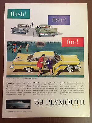 Stunning Canadian Car Ad Dodge 1959 Plymouth Fury Canada Advertisement
