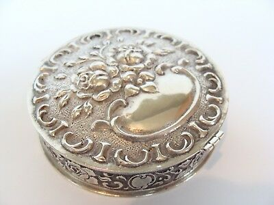 Antique Sterling Silver German 835 Albo Bodermer Repousse Rose Pill Vanity Box