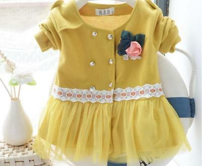 Baby girls kids long sleeve lace cardigan coat Parkas age 6 -12months yellow