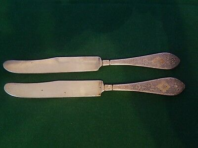 Pair of Fine Persian solid Silver Signed Butter Knives Late Qajar 78.7 g