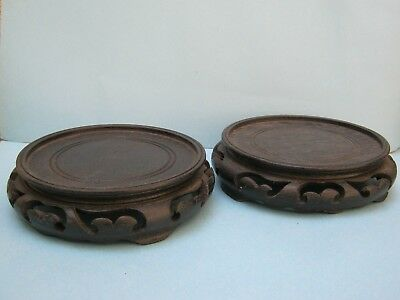 Vintage Oriental Pair Round Carved Wood Pot/Vase Stand Chinese