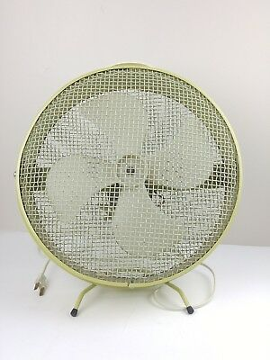 Vintage Small Caged Industrial Table/Floor Fan Mod 1063-2 - 2 Speed Tested Works