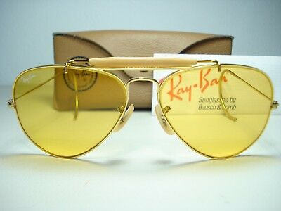 Vintage 1980's B&L Ray Ban Ambermatic Sunglasses New Old Stock 58mm Aviator