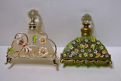 Antique Style Glass And Crystal Perfume Bottles