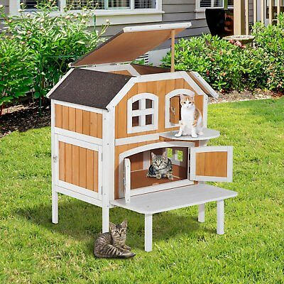 NEW Cat Dog House Pawhut 2-Story Wooden Raised Indoor Outdoor Cottage Wood/White