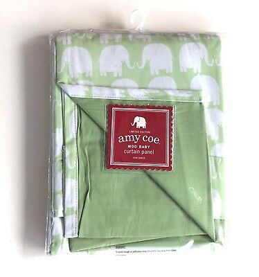 Amy Coe Mod Baby Elephants Green White Curtain Panel Cotton
