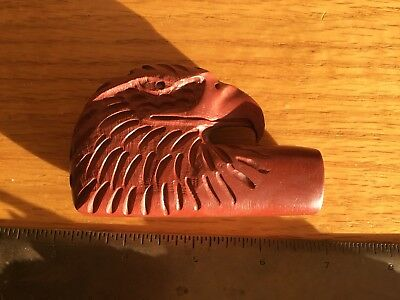 CARVED EAGLE HEAD PIPESTONE CATLANITE PIPE w/ BEADED LEATHER & WOOD STEM / NR