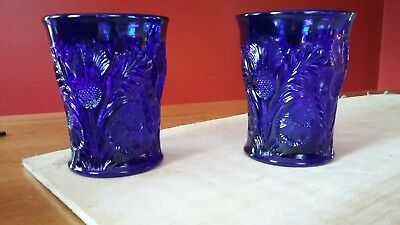 (2) Cobalt blue Mosser inverted thistle glasses - 30 years old - beautiful set!