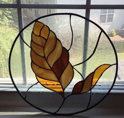 """Tiffany Style Stained Glass Window Hanging/ Sun Catcher 16"""" Circle"""