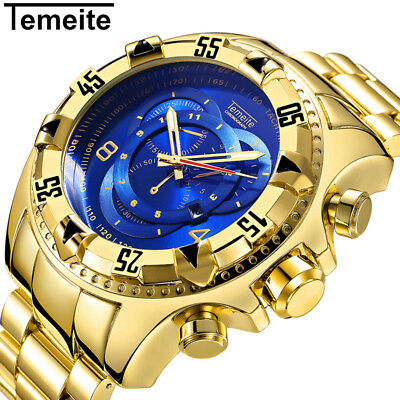TEMEITE Big Dial 52MM Quartz Stainless Steel Auto Date Big Face Men's Watch