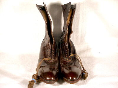Vintage Edwardian Period Burgundy Brown Leather Lace Up Boots US 9AA