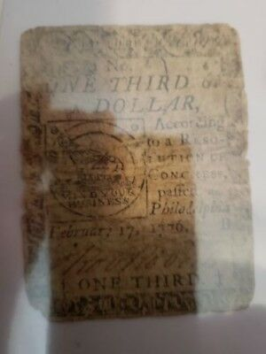 Revolutionary War Continental Currency Pennsylvania 1/3 Of A Dollar Note 1776