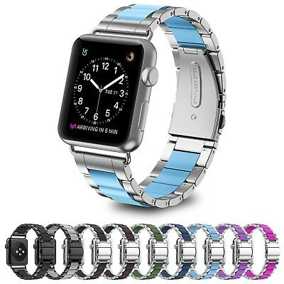 (38mm, B7:Silver-Blue) - GreenInsync Apple Watch Band, Stainless Steel