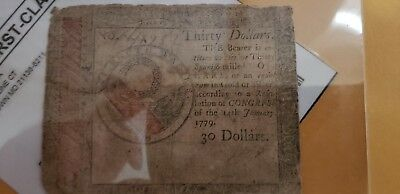 Continental Currency January 14, 1779 $30 Very Good.