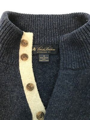 Brooks Brothers Quarter Button Merino Wool Blue Sweater