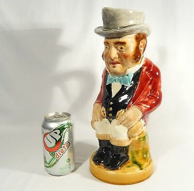 "Antique SARREGUEMINES France 12 3/4"" UK JOHN BULL TOBY Character JUG Majolica"