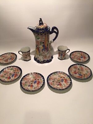 Antique Japanese Kutani Handmade Tall Teapot Pot Tea Cup Saucer Chocolate Set