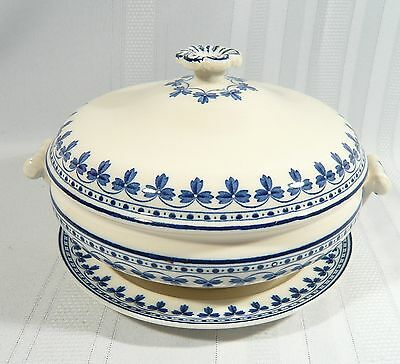 Antique WEDGWOOD ROME Covered lidded VEGETABLE BOWL and Under Plate Blue & White