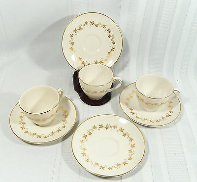 3  Royal Doulton CITADEL Tea / Coffee DEMI TASSE Cups extra SAUCER  GOLD Leaves