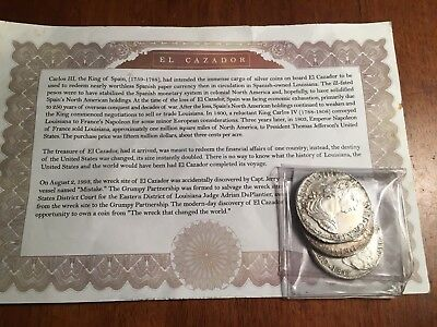 SEPARATED CLUMP of 3 Original El Cazador 8 Reales WITH CERTIFICATE!!