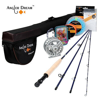 Fly Rod Combo 3/5WT Travel Fly Fishing Rod Aluminum Large Arbor Fly Reel, Line