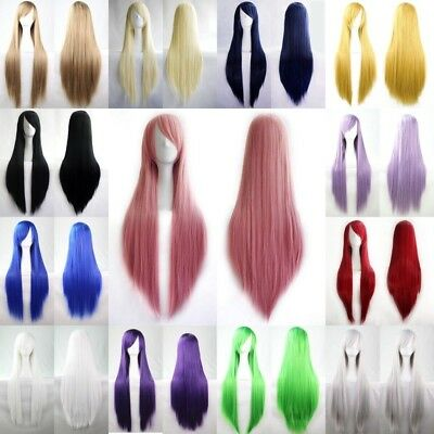 Women's Fashion Wigs Multi-Color Long Straight Anime Cosplay Party Costume Wigs