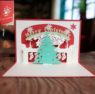 3D Pop Up Card Merry Christmas Tree Holiday Greeting Creative New Hot Cards