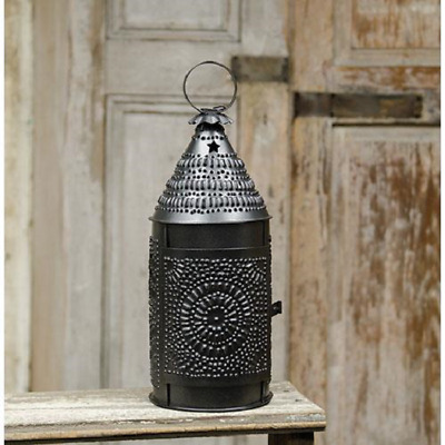 Country Primitive Bakers Lantern Smoky Metal New