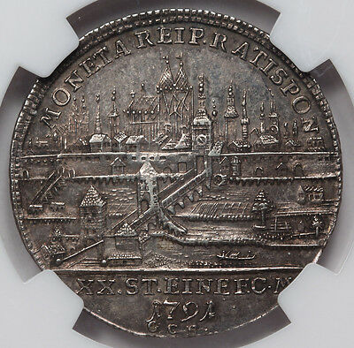 Germany Regensburg 1791 K//GCB 1/2 Taler Thaler Coin AU55 NGC Cityview German AU